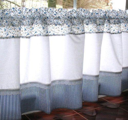 Modrobílé záclonky 132 x 50 / Zboží prodejce Ladabrož | Fler.cz