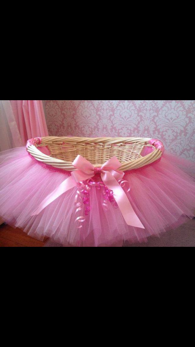 Cute idea to dress up gift basket for baby shower.