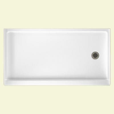 Single Threshold Retrofit Right Drain Shower Pan In White