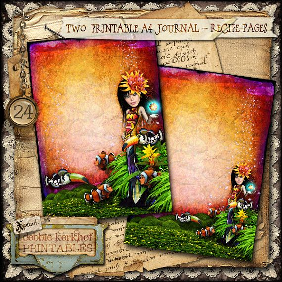 Digitally collaged Journal/Diary printable A4 pages - No.24