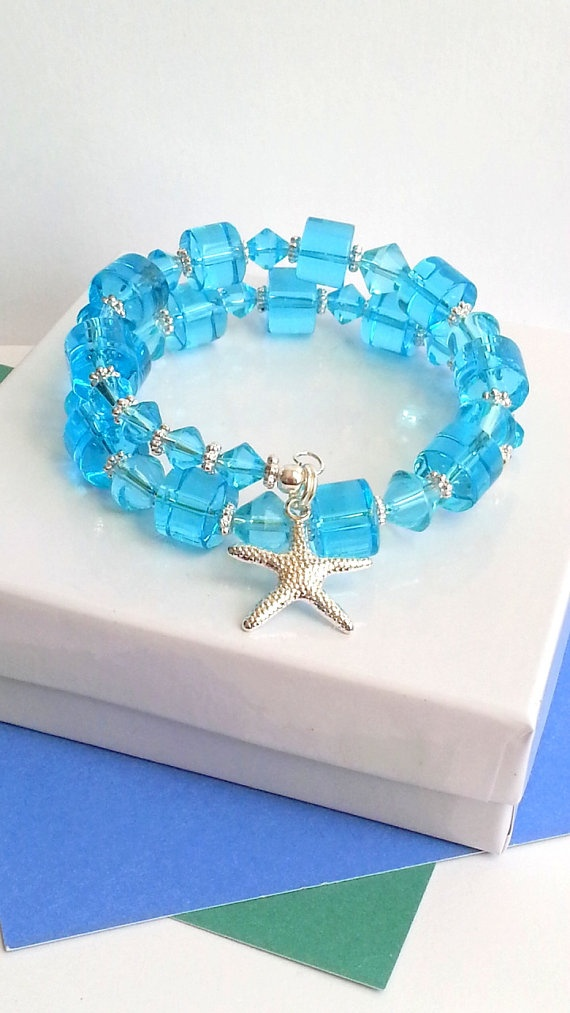 Aqua glass memory wire bracelet with silver plated starfish charm, ladies beach jewelry on Etsy, $15.99