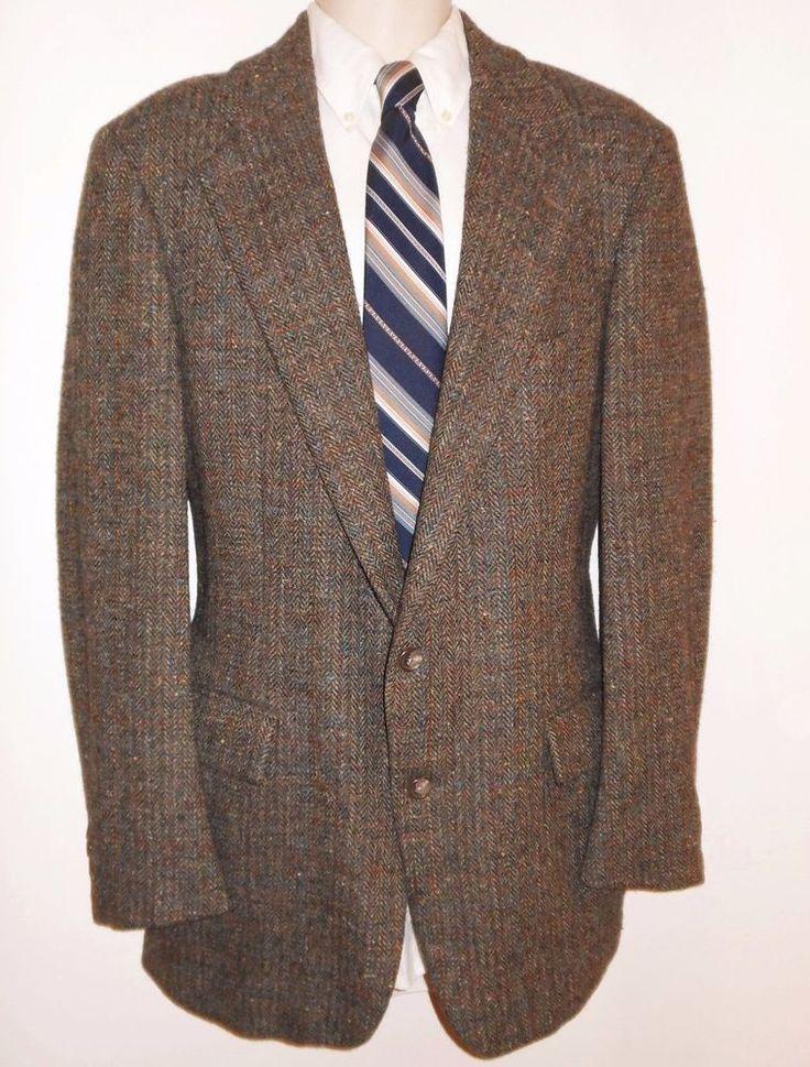 Vtg Polo Ralph Lauren 39L Tweed Sport Coat Wool Brown Blue Herringbone Jacket #PoloRalphLauren #Tweed #Tweedsportcoat #Dapper #WoolTweed #RalphLauren #Herringbone #Tweedjacket
