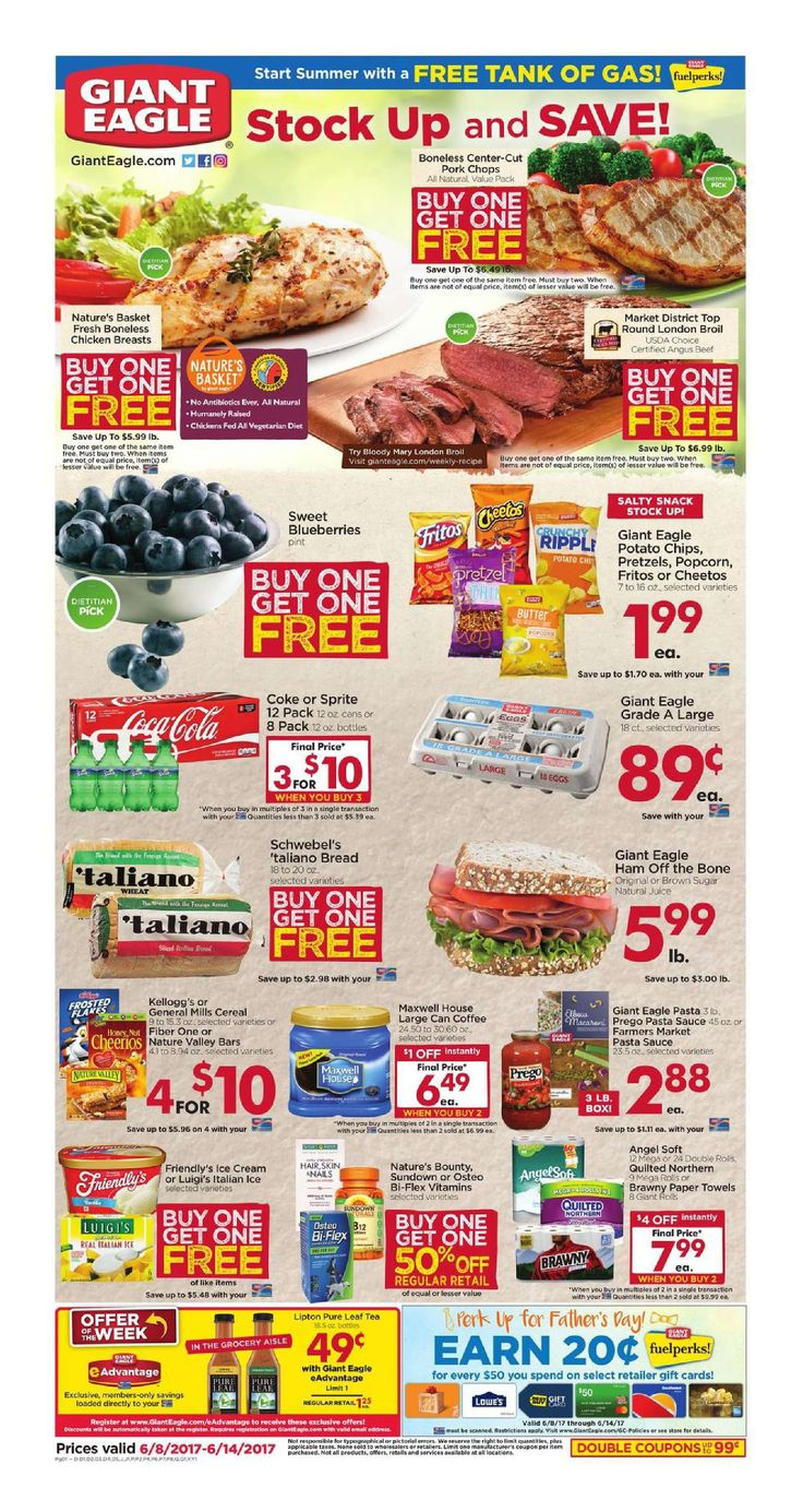 Giant Eagle Weekly Ad June 8 - 14, 2017 - http://www.olcatalog.com/grocery/giant-eagle-weekly-ad.html