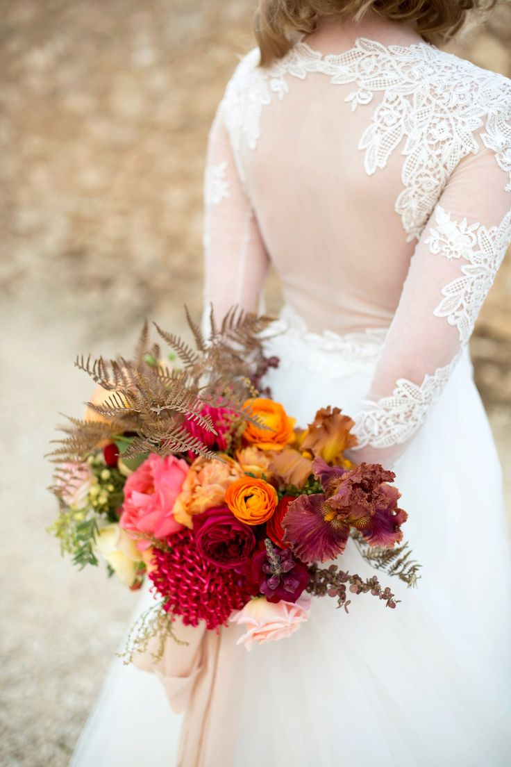 Styled Shoot for Love Cherish Adore, Photography by Bridget Quain. Homegrown, spring flowers, autumn colours, peonies, roses, bearded iris, dried bracken, red, orange, spring wedding, colourful, wall installation, flower cascade