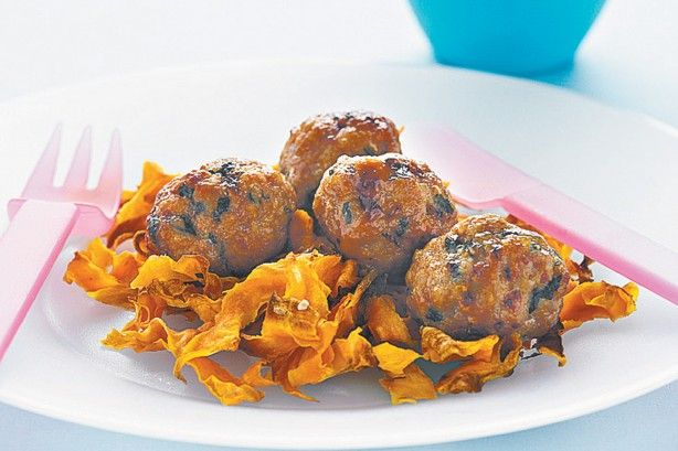 Pork meatballs with sweet potato ribbons main image