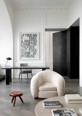 Ours Polaire Chair designed by Jean Royere :: 1947 at the Quai Anatole Apartment, Paris designed by Joseph Dirand