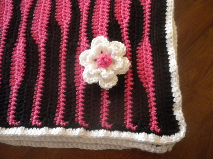 Crochet Zebra Blanket : Crochet Zebra Blanket in Hot Pink and Black