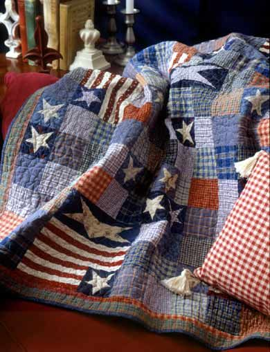 Cute patriotic quilt.  I could use some of those old denim jeans and flannel shirts!  I LOVE THIS...