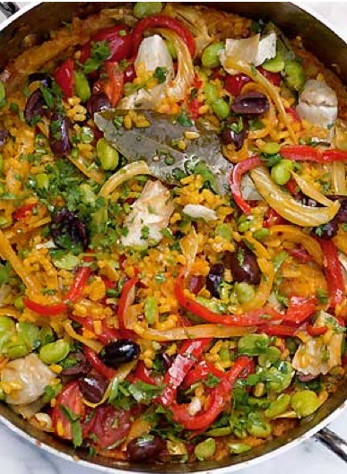 multi vegetable paella ---- summer recipe for big paella pan -- great for vegetarian friends