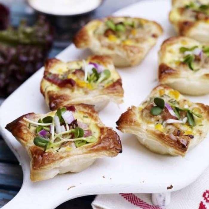Snabba minipajer med kyckling, bacon och majs