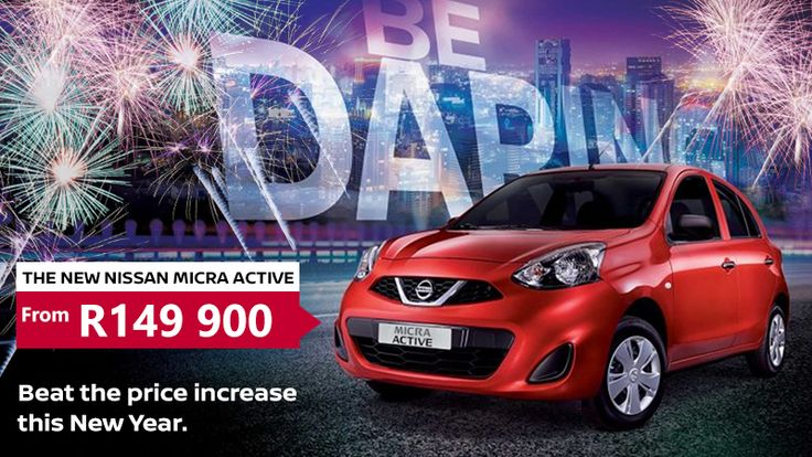 Be daring this New Year and get the All-New #Micra #Active From only R149.900 exclusively at #Atlantis #Nissan. Don't miss out! Offer includes Navigation, Bluetooth and Service Plan.  Contact Dawie Roux on 012 663 1350 / 076 455 9427 for more information or book your test drive today.  *Terms & Conditions Apply. *E&OE #Autofind