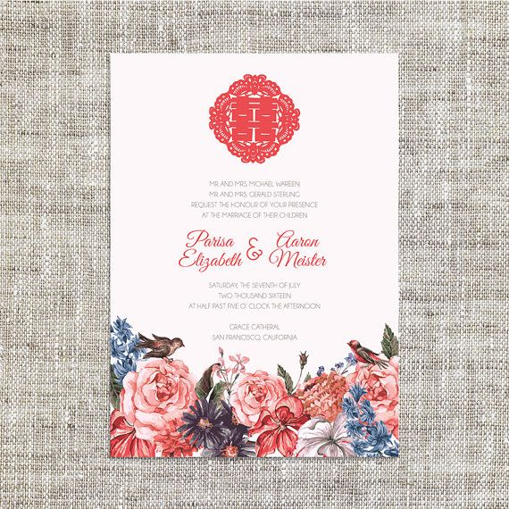 DIY Printable/Editable Chinese Wedding Invitation Card by ImLeaf