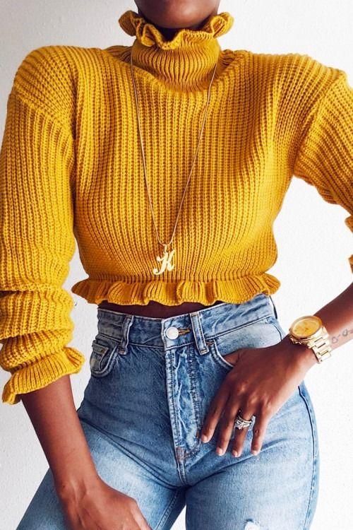 ccaff280769 Mustard Ruffle Hem Chunky Knit Crop Jumper - Alannah in 2019 | fashh ...