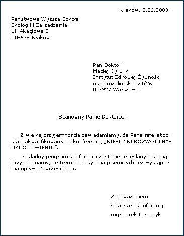 Znalezione obrazy dla zapytania list oficjalny