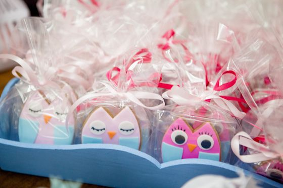 Owl Cookies at a Baby Girl Shower #babyshower #cookies