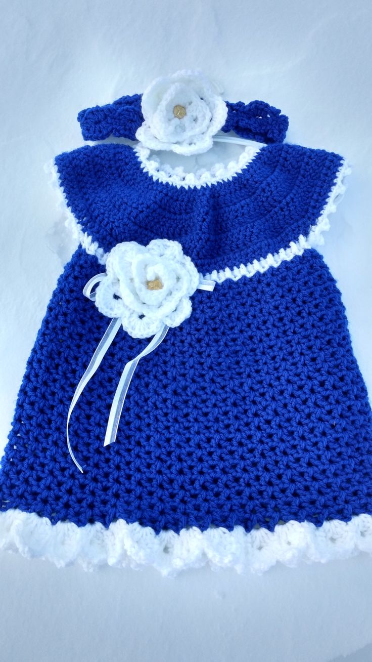 Royal Blue and White Baby Dress and Headband, 9-12 month baby dress, blue baby dress and headband, royal blue dress by FamilyCrochetCabinet on Etsy