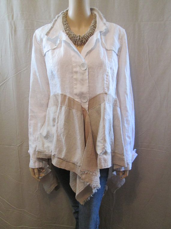 Lagenlook Tunic Loose Flowing Washed Linen and Gauze White And Sand Altered Couture One Size Fits S - L
