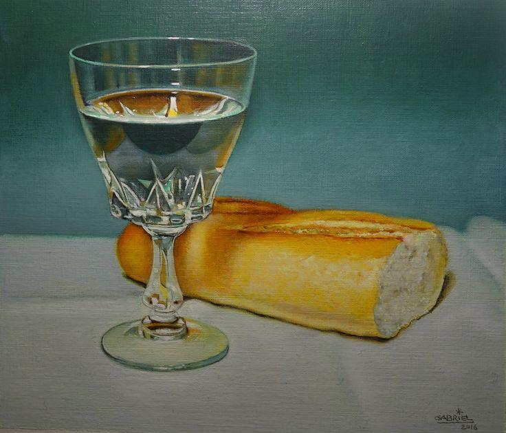 "Pintura al oleo ·Pan y agua"""