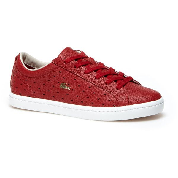 Red Women's Straightset Perforated Piqué Leather Sneakers (175 AUD) ❤ liked on Polyvore featuring shoes, sneakers, leather shoes, leather sneakers, red leather sneakers, lacoste trainers and tennis shoes