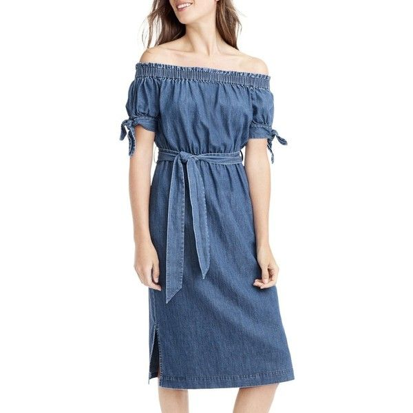 Women's J.crew Tie Waist Chambray Off The Shoulder Dress (€88) ❤ liked on Polyvore featuring dresses, biscayne wash, petite, sleeved dresses, tie dress, blue chambray dress, galaxy print dress and planet dresses