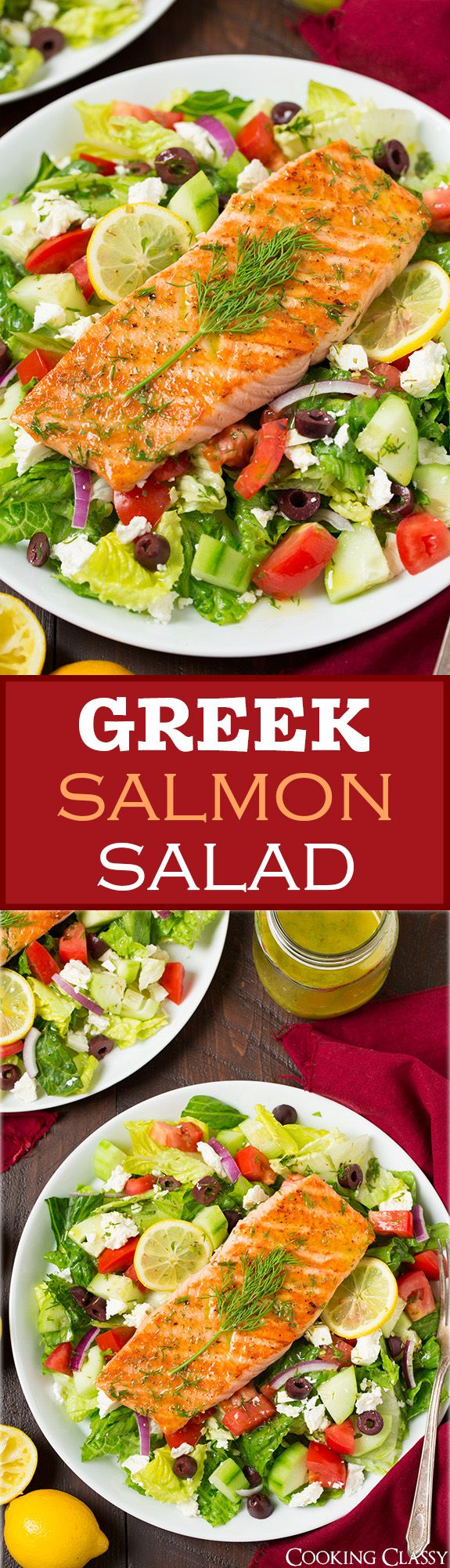 Greek Salmon Salad with Lemon Dill Vinaigrette - this salad is delish! Could sub chicken for the salmon for a cheaper alternative.