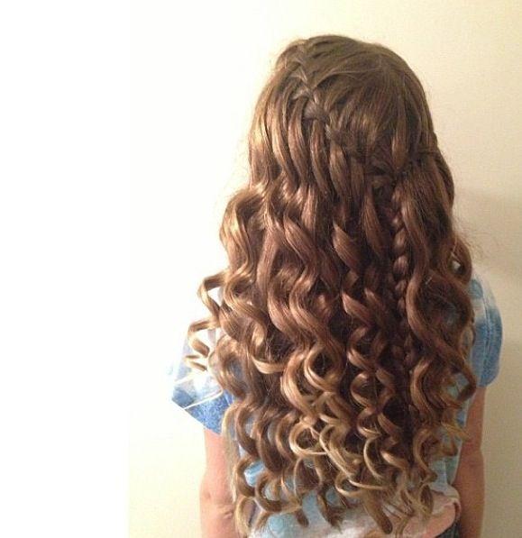 Curly Hair Amp Waterfall Braid Homecoming Hair Styles