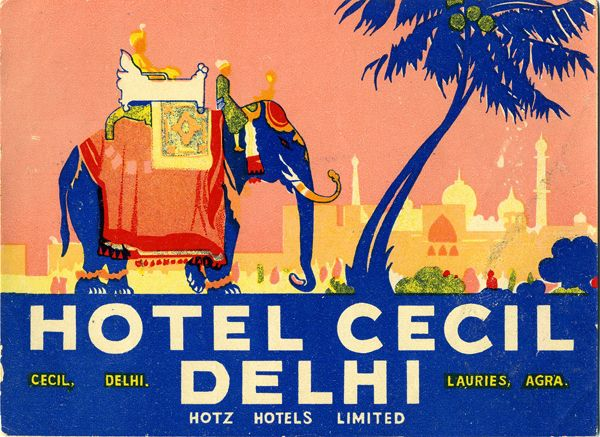 Vintage international hotel luggage labels.