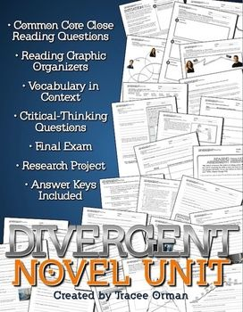 Divergent Novel Unit: Questions covering every chapter; reading assessments; language/vocabulary-in-context exercises, with figurative language practice, word connotations, author's word choice, etc.; character organizer; and Common Core reading graphic organizers that focus on characterization, themes, text connections, and plot development. Includes differentiated exercises and extensive exercises for parallel plots development.