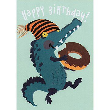 Alligator with Doughnut | Happy Birthday Card AX010 | Dimensions: 12.5cm x 17.5cm. #giftcards #wishcards #birthdaycards #wishes