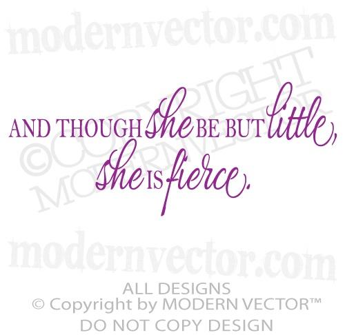 Shakespeare Quote She Is Fierce Vinyl Wall Decal Lettering Nursery Girls Room | eBay
