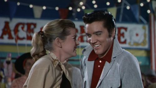 """Dolores Hart and Elvis Presley, LOVING YOU, 1957. They were good friends. Nothing more. He liked working with her, felt comfortable with her. She said years later that she was so struck by his """"innocence"""". They're good together onscreen. He did well..."""