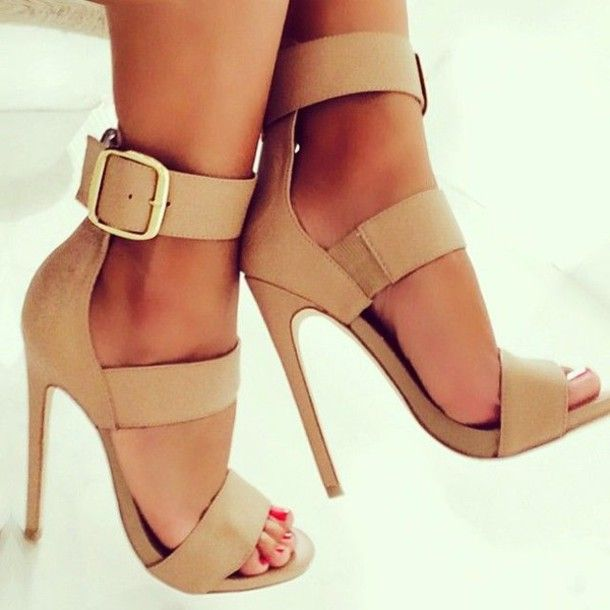 Shoes: tan heels heels strapped heels fashion sandals nude heels beige high heels classy nude nude
