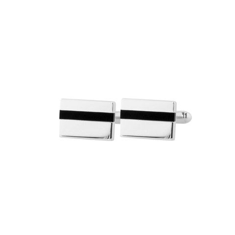 Dash cufflink | ANTIKA For the more conservative - sterling silver Dash cufflinks with onyx - 18mm long and 12mm wide with high polished finish.
