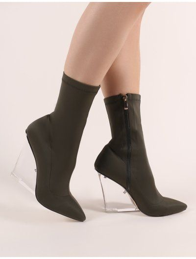 Glance Perspex Wedge Ankle Boots in Khaki in 2019