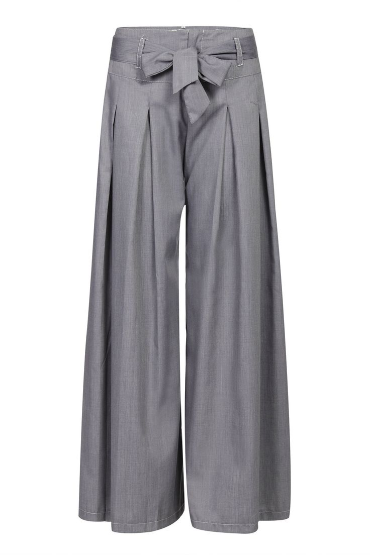 Grey Wide Leg Loose Trousers with Belt