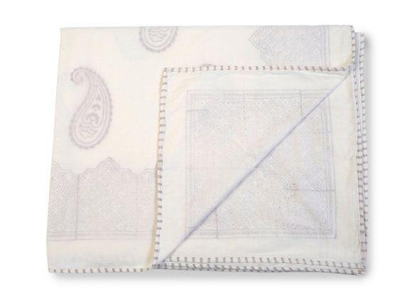 PAISLEY GREY Dohars Summer Blanket by whitejasminebedding on Etsy