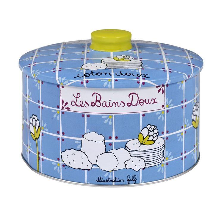 bo te cotons bains doux bleu derri re la porte dlp boite produits de beaut acc ssoire. Black Bedroom Furniture Sets. Home Design Ideas