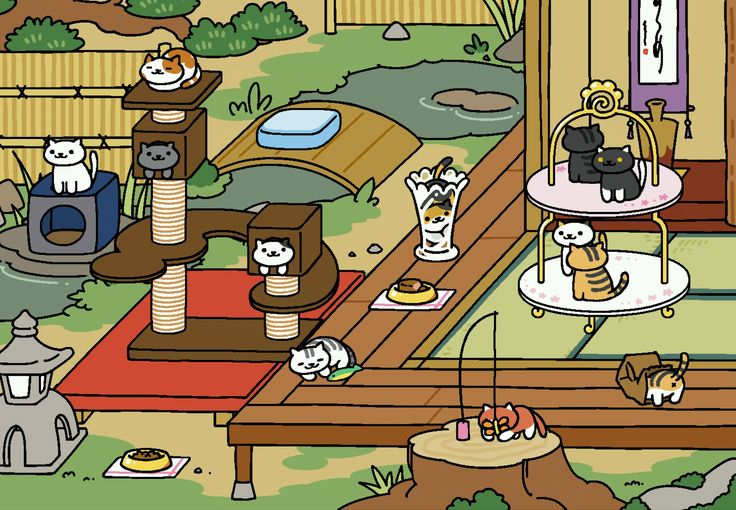 A good representation of Neko cats hanging out Neko