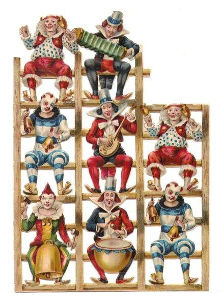 Victorian Scrap Sheet Circus Clown Antique Die Cuts 1880s