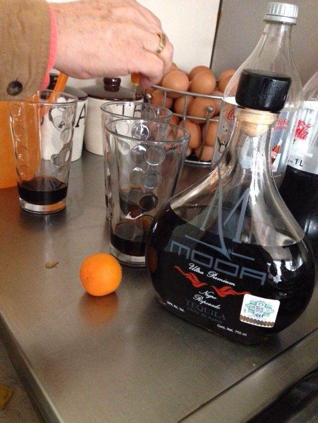 Moda Tequila with tangerine, salt and coke