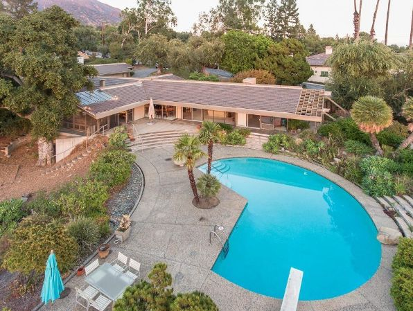 Beautiful Mid Century Modern Kidney Shaped Pool With Diving Board In Pasadena California Make