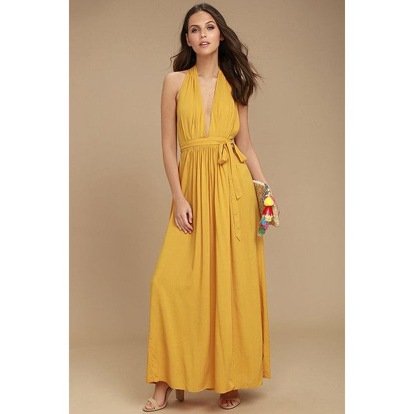 Magical Movement Mustard Yellow Wrap Maxi Dress ($49) ❤ liked on Polyvore featuring dresses, yellow, wrap maxi dress, mustard yellow maxi skirt, long maxi skirts, tie-dye maxi skirts and brown maxi skirt