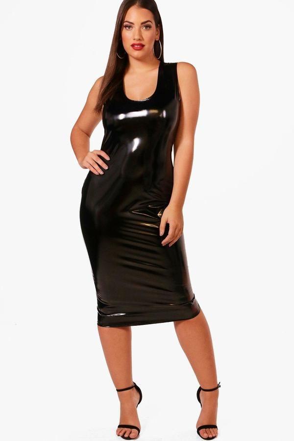 0c28a1474a0 boohoo Plus Zoe Vinyl Leather Look Midi Dress