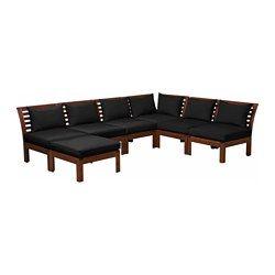 ÄPPLARÖ / HÅLLÖ, 6-seat sectional + stool, outdoor, brown stained, black