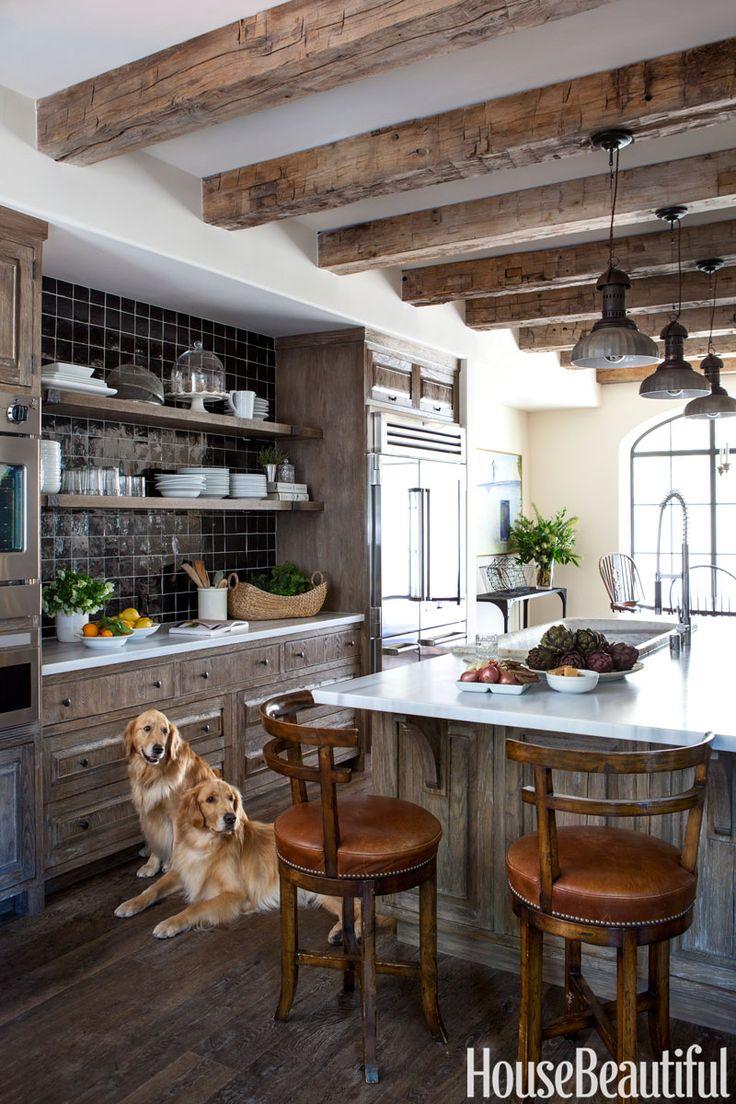 Best Kitchens 2013 : Best kitchens of black tiles vintage sink and old wood