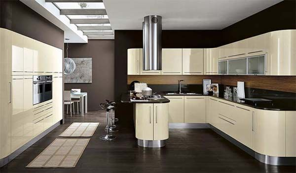 Love this color and glossy cupboards.  the skylight is awesome, too.