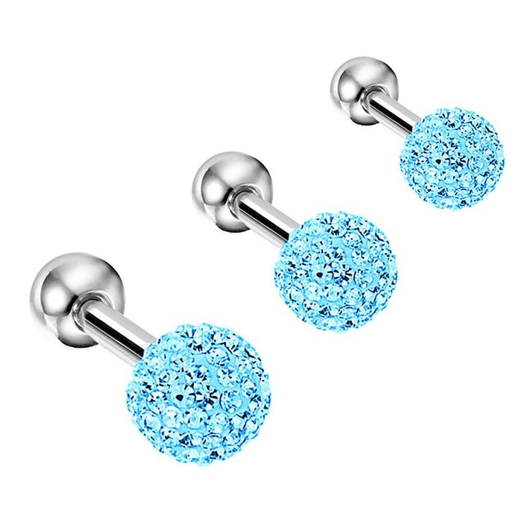Amazon.com: 16 Gauge Aqua Ball Cartilage Tragus Barbell Set of 3: Jewelry
