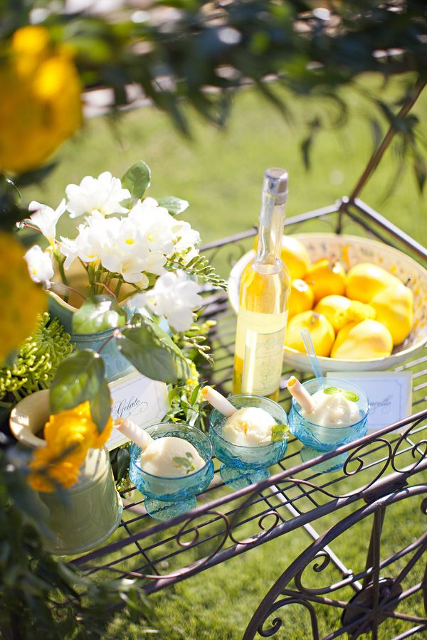 Amalfi Coast Wedding Inspiration....not sure about the lemons and pears but LOVE the idea of lemon sorbet!! Yum!