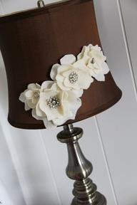 Hot glue flowers onto a lampshade