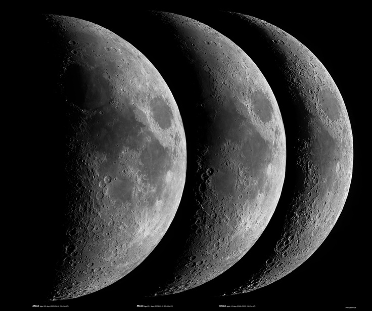 Pete's images of the sky are amazing; check them out at digitalsky.org, and you can keep up with him on Twitter.  He also sent me this shot he took in 2009 showing the Moon in three different phases; you must click it to see it full size. It's pretty impressive.